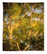 Tree With V Shaped Branches Fleece Blanket