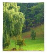 Trees Along Hill Fleece Blanket