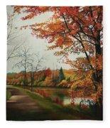 Trees Along The Canal Fleece Blanket