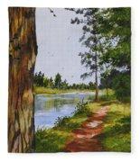 Trees Along The River Fleece Blanket