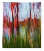 Trees And Lake Fleece Blanket