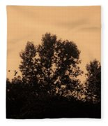 Trees And Geese In Sepia Tone Fleece Blanket