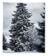 Trees And Snow Fleece Blanket