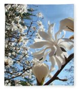 Trees Art Prints White Magnolia Flowers Baslee Troutman Fleece Blanket