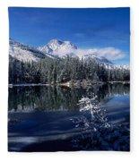 Trees At The Lakeside, Yellowstone Fleece Blanket