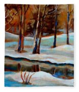 Trees At The Rivers Edge Fleece Blanket