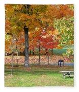 Trees Begins Autumn Color Fleece Blanket