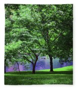 Trees By A Pond Fleece Blanket