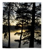 Trees By The Lake Fleece Blanket
