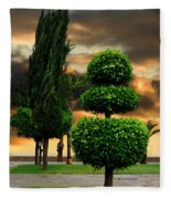 Trees In A Park Of Limassol City Sea Front In Cyprus Fleece Blanket
