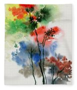 Trees In Colors Fleece Blanket