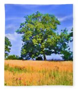 Trees In Field Fleece Blanket