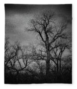 Trees In Storm In Black And White Fleece Blanket