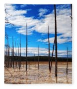Trees In The Midway Geyser Basin Fleece Blanket