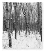 Trees In Winter Snow, Black And White Fleece Blanket