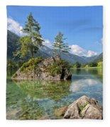 Trees On A Rock, Hintersee Fleece Blanket