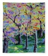 Trees On Hideaway Ct Fleece Blanket