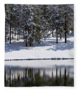 Trees Reflecting In Duck Pond In Colorado Snow Fleece Blanket