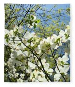 Trees Sunlit White Dogwood Art Print Botanical Baslee Troutman Fleece Blanket