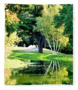 Trees With Mirror Lake 2 Fleece Blanket
