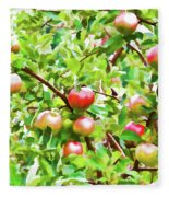 Trees With Red Apples In An Orchard Fleece Blanket