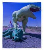 Trex And Triceratops  Fleece Blanket