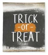 Trick Or Treat Sign- Art By Linda Woods Fleece Blanket