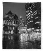 Trinity Church John Hancock Tower Boston Ma Black And White Fleece Blanket