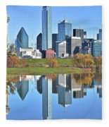 Trinity Park Water Reflects The Big D Fleece Blanket