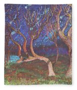 Trinity Tree By Moonlight Fleece Blanket