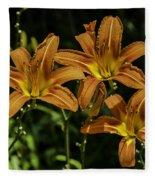 Trio Of Orange Tiger Lilies Fleece Blanket