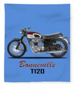 Triumph Bonneville T120 1968 Fleece Blanket by Mark Rogan