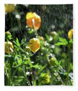 Trollius Europaeus Spring Flowers In The Rain Fleece Blanket