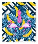 Tropical Banana Pink   Fleece Blanket