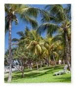 Tropical Beach I. Mauritius Fleece Blanket