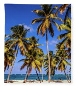 Palms On The Beach Fleece Blanket