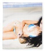 Tropical Beach Woman Fleece Blanket