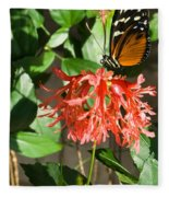 Tropical Butterfly On Flower Fleece Blanket