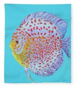 Tropical Discus Fish With Red Spots Fleece Blanket