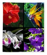 Tropical Flowers Multiples Fleece Blanket