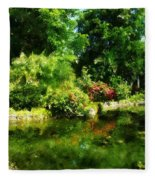 Tropical Garden By Lake Fleece Blanket