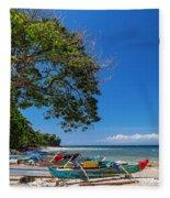 Tropical Island Panorama Paradise Fleece Blanket