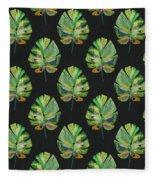 Tropical Leaves On Black- Art By Linda Woods Fleece Blanket