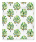 Tropical Leaves On White- Art By Linda Woods Fleece Blanket