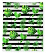Tropical Leaves Pattern In Watercolor Style With Stripes Fleece Blanket
