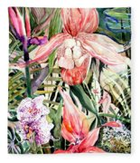Tropical Orchids Fleece Blanket