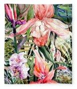 Tropical Orchids Fleece Blanket