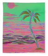 Hot Pink Coconut Palm Fleece Blanket