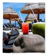 Tropical Paradise Sun, Sand, Beach And Drinks. Fleece Blanket