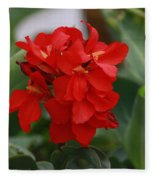 Tropical Red Canna Lilly Fleece Blanket